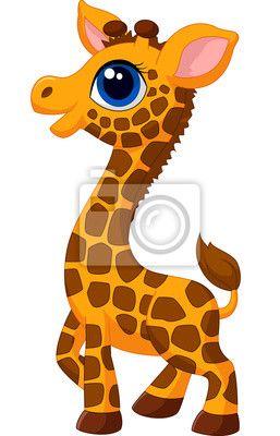 Fotomural lindo beb jirafa de dibujos animados  animal  PIXERS