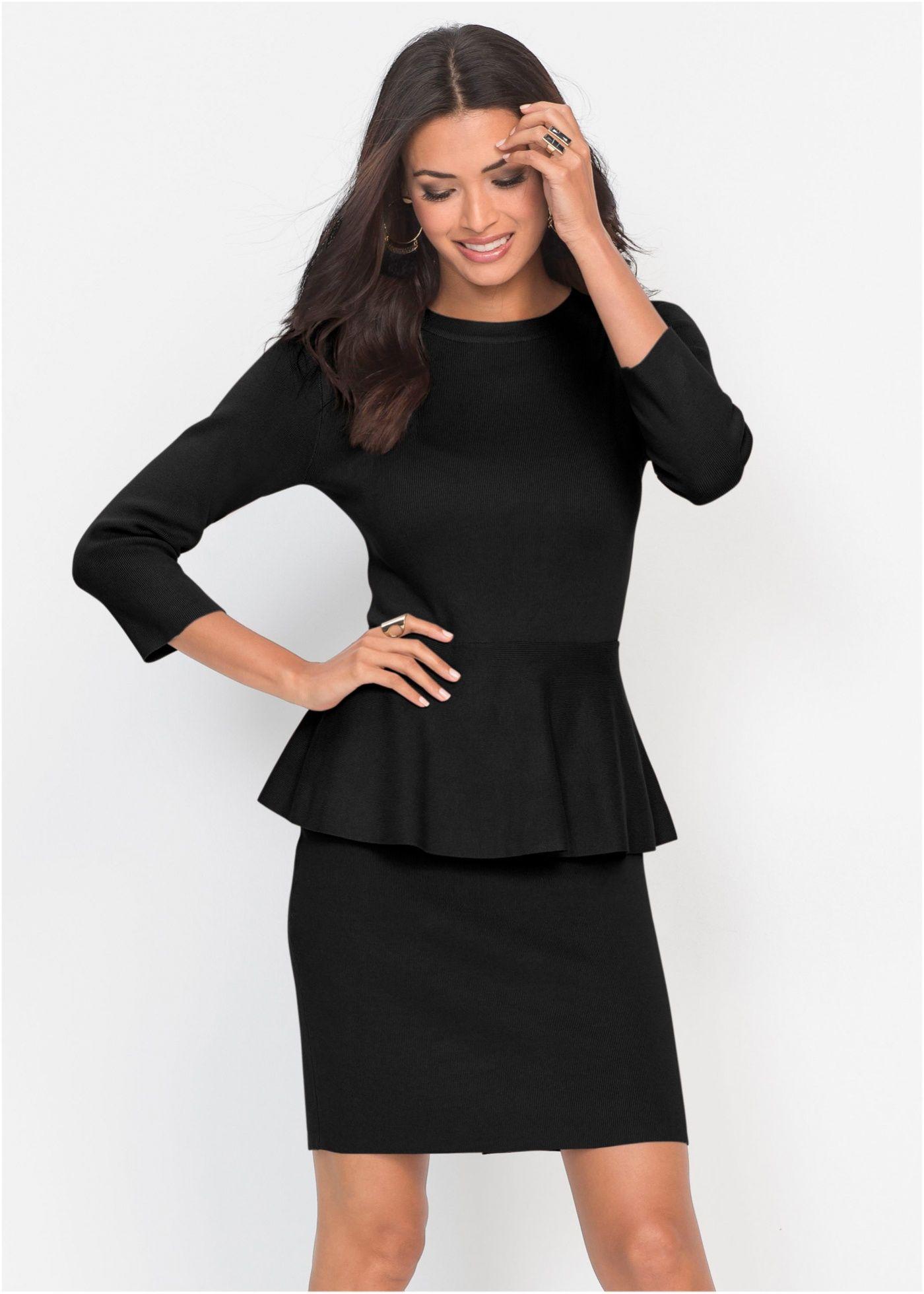 Abito in maglia con baschina Nero è ordinabile nello shop on-line di bonprix . 3e7012451a5