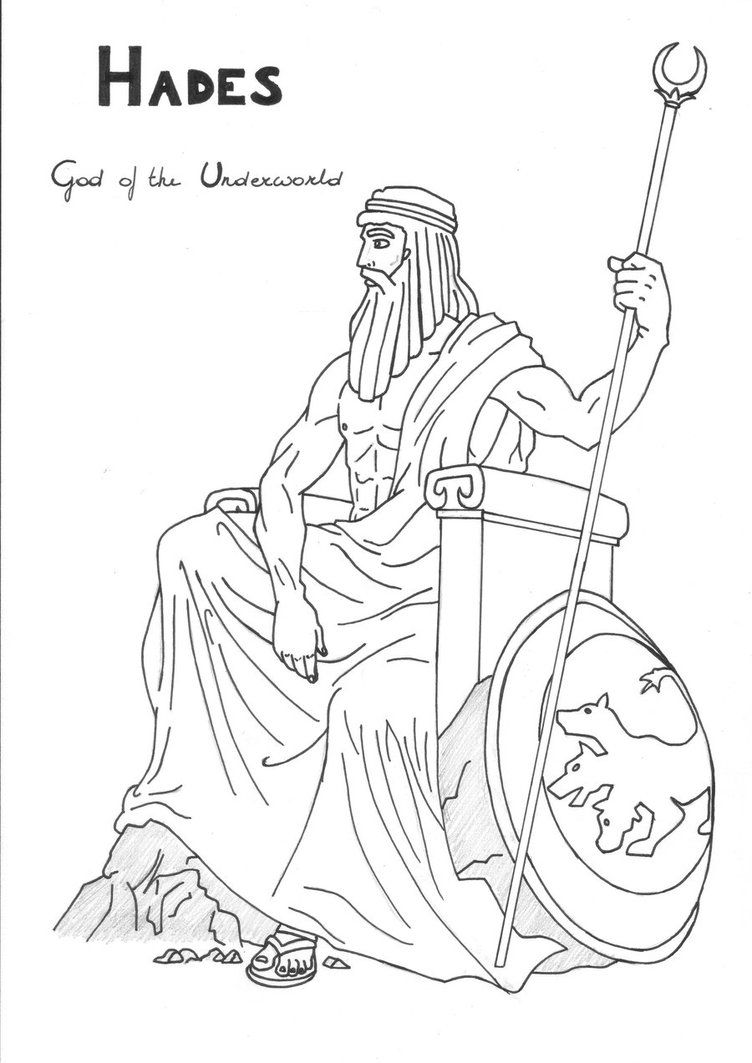 Hades coloring page Greek God mythology