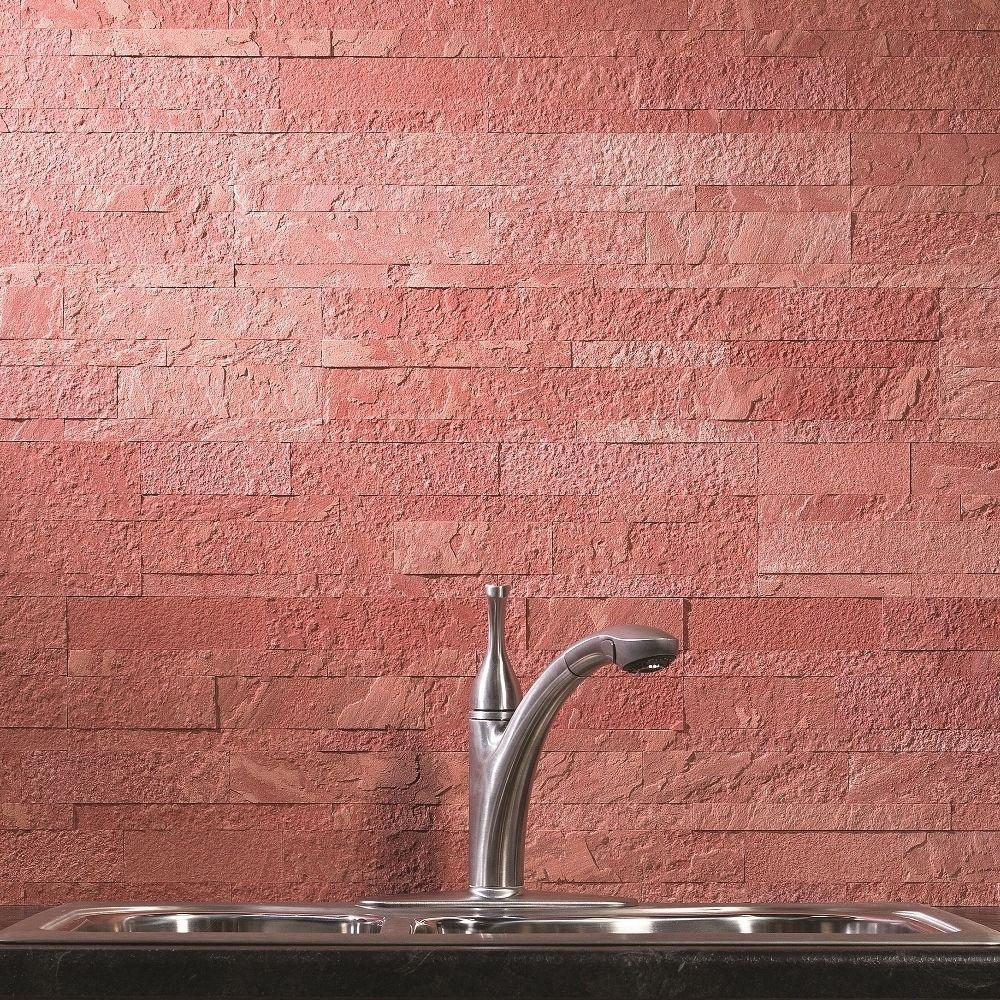 Aspect 6 x 24 inch autumn sandstone peel and stick stone backsplash - Aspect 6 X 24 Inch Autumn Sandstone Peel And Stick Stone Backsplash 6x24