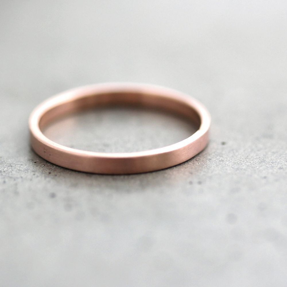Rose Gold Wedding Band Stackable Ring 2mm Slim Recycled 14k Brushed Pink