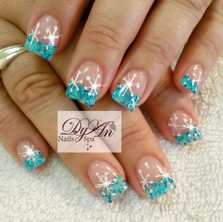 Snowflake nails with blue glitter | Nails | Pinterest ...
