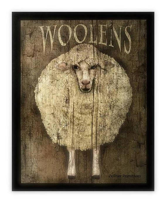 Folk Art Primitive Black Sheep Woolens On 8x10 Canvas