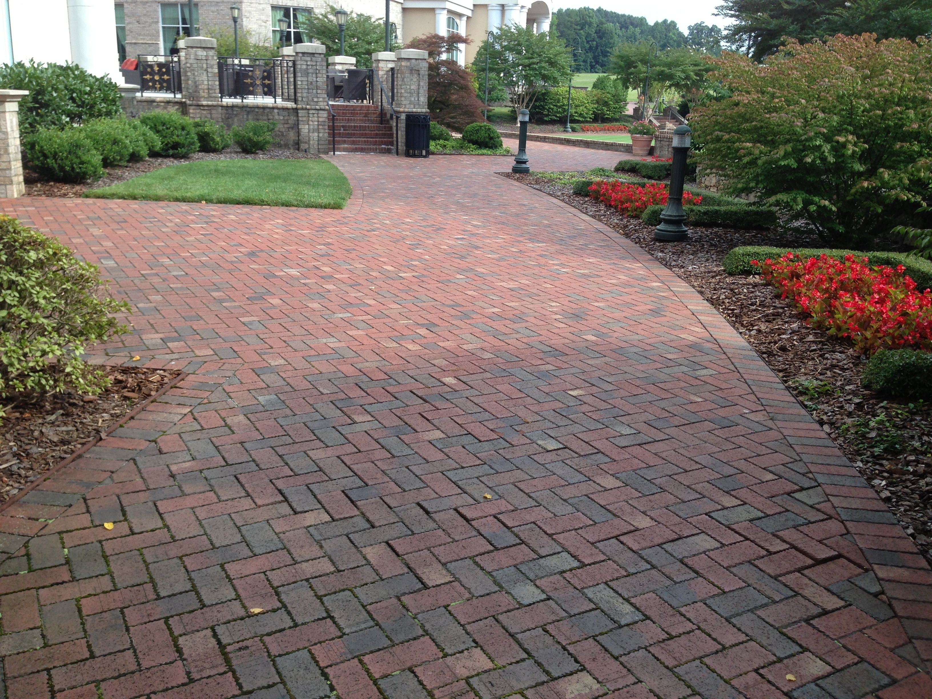 This broad walkway could just as easily be a driveway its made by laying clay pavers in a - Aac blocks vs clay bricks ...