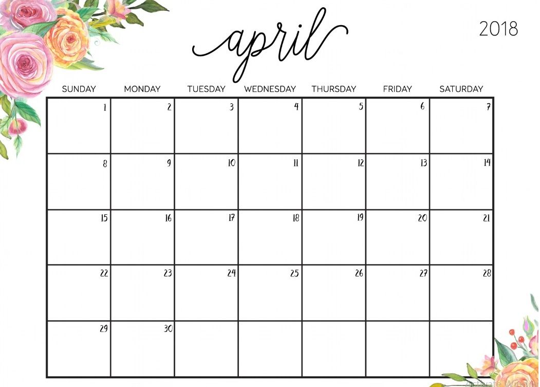 editable april 2018 floral calendar calendar 2018 pinterest