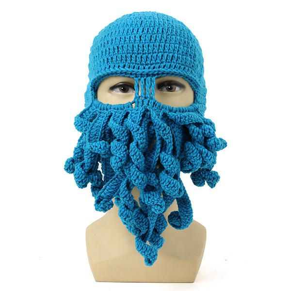Unisex Winter Warm Knitted Crochet Wool Ski Face Mask Octopus Squid Cap Beanie Hat - Banggood Mobile