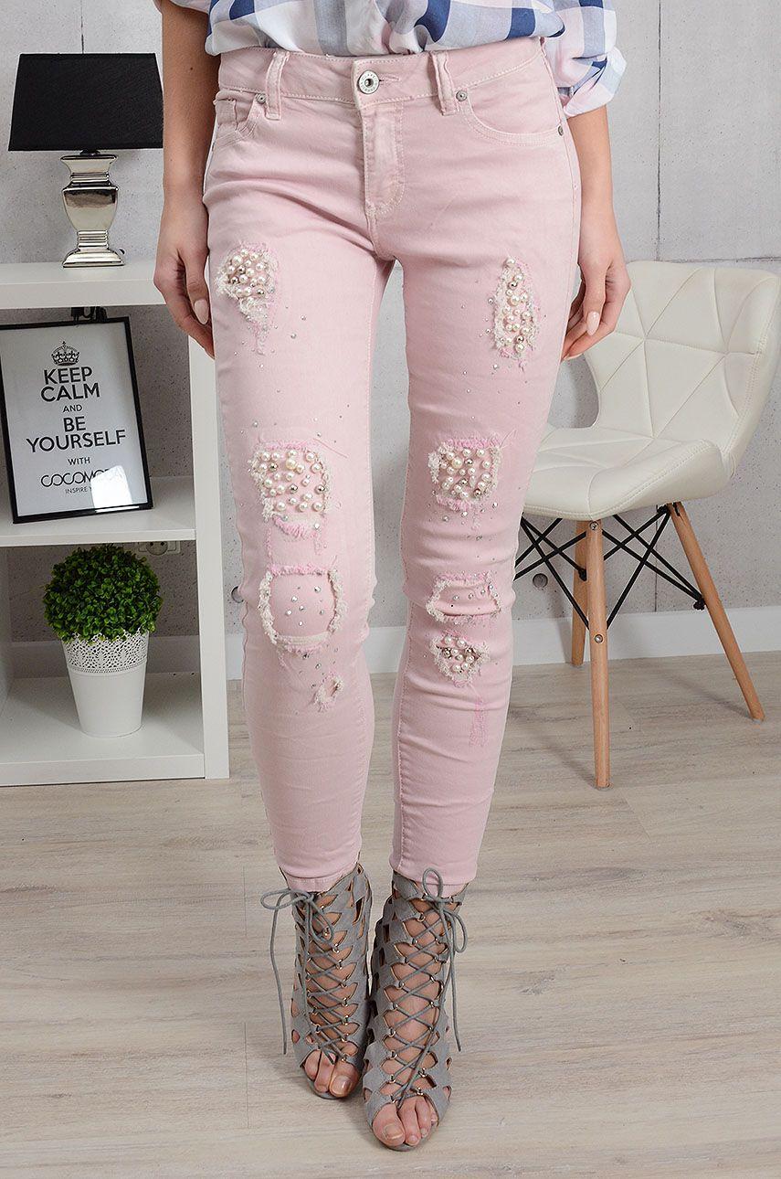 Spodnie Jeansowe Z Perlami I Dziurami Pudrowe Pants Capri Pants Fashion