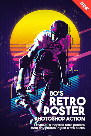 80 S Retro Poster Photoshop Action Photoshop Poster Design Retro Poster Retro Typography Poster