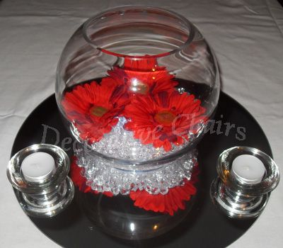 Goldfish bowls, table centerpiece decorated by Decorative Chairs Sheffield South Yorkshire, affordable table decoration