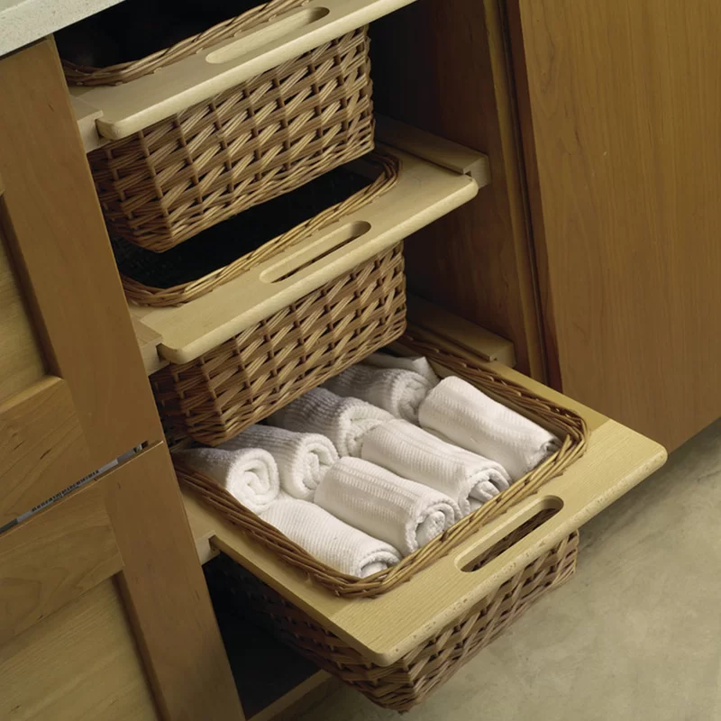 Beale Wicker Basket Cabinet Pull Out Drawer Frameless Cabinets Wicker Basket Drawers Cabinets Organization