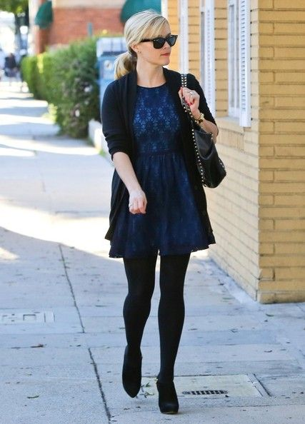 8c4a9141fdb Navy blue dress with a slouchy sweater and tights...love!