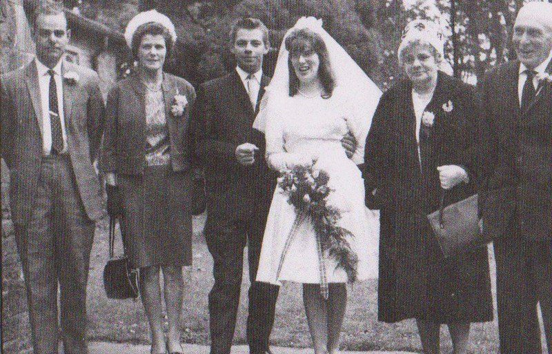 my dad's brother jimmy's wedding,with uncle john far left & granny Higgins second right