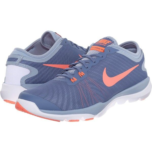 Nike Flex Supreme TR4 (Ocean Fog/Blue Grey/Porpoise/Bright Mango)... ($40) ❤ liked on Polyvore featuring shoes, athletic shoes, blue, laced shoes, grey shoes, gray shoes, bright blue shoes and nike