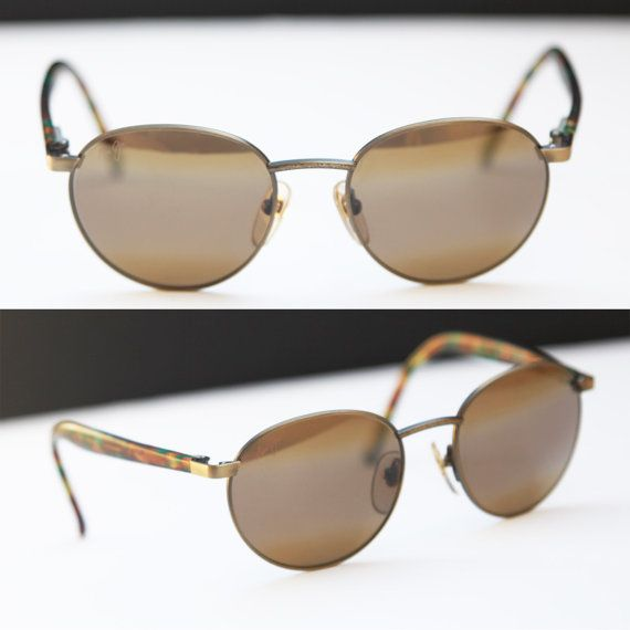 6053abd9a6 80s Maui Jim Round Sunglasses Oversize Brass Bronze Metal Wire Frames and Tortoise  Shell Arms Steampunk Eyewear
