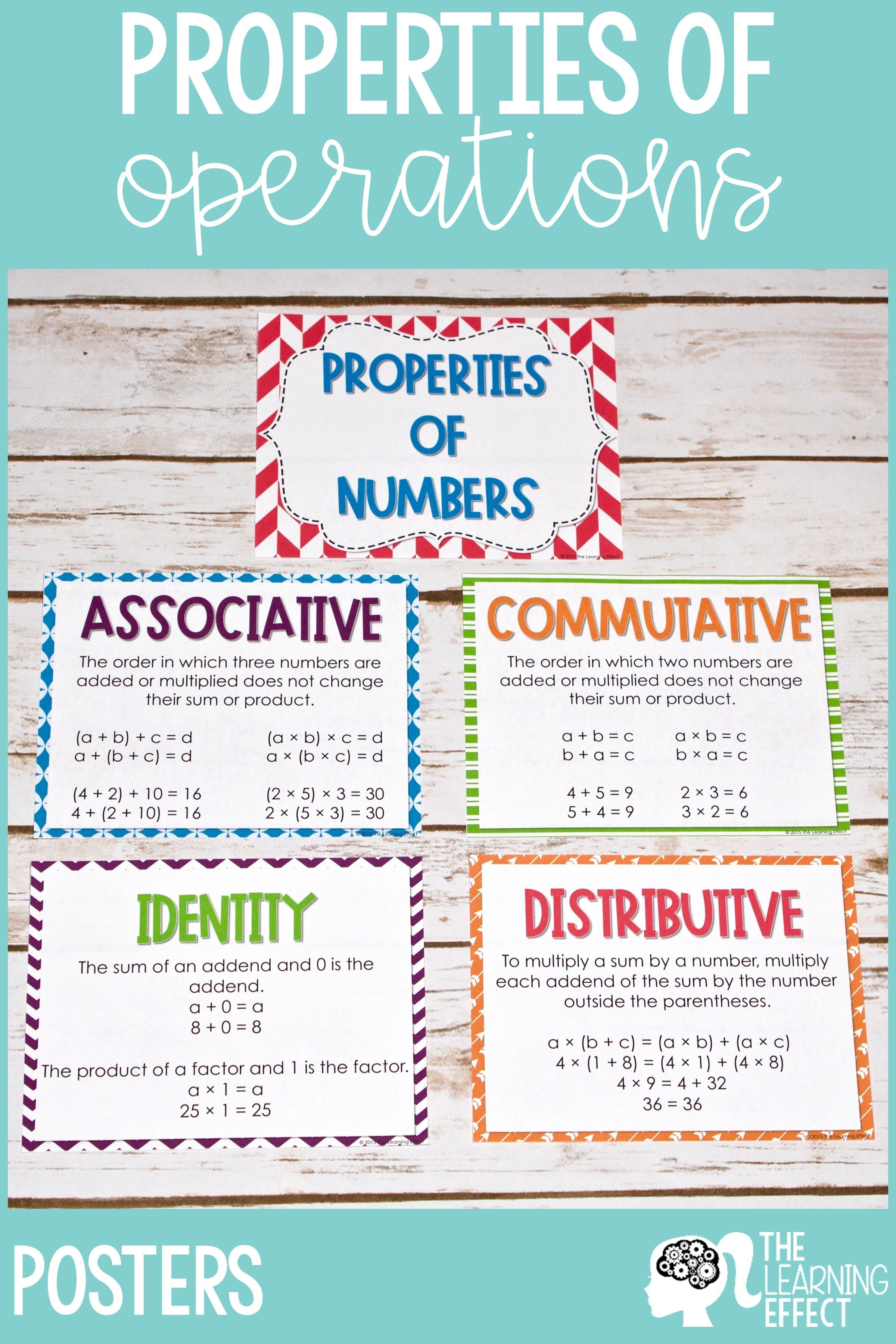 Predownload: Teach Properties Of Operations With These Posters Students Will Learn The Commutative Property Of Addi Math Properties Algebra Activities 6th Grade Worksheets [ 3600 x 2400 Pixel ]