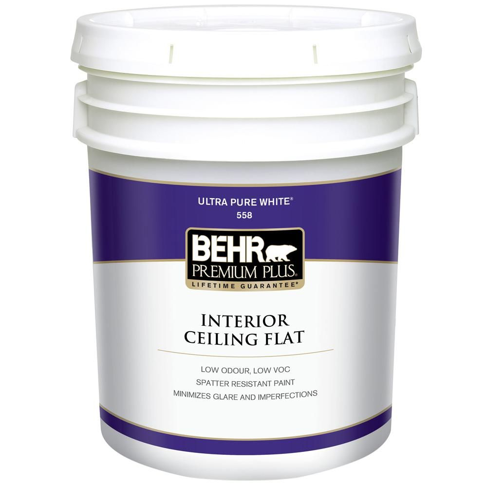 Behr Premium Plus 5 Gal Ultra Pure White Ceiling Flat Interior Paint 55805 The Home Depot Interior Paint Flat Interior Painted Kitchen Cabinets Colors