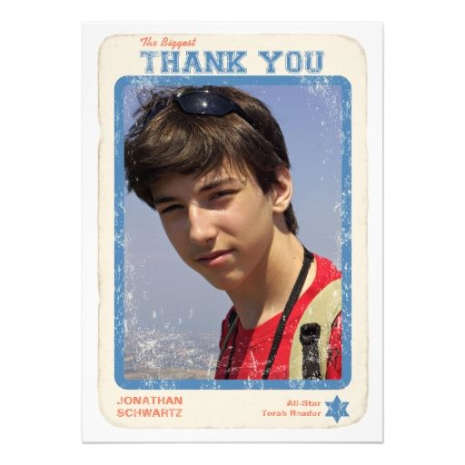 Sports Star Bar Mitzvah Thank You Card Personalized Invites