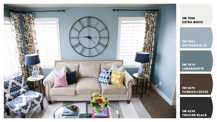 I Just Spotted The Perfect Colors In 2020 Family Room Colors Blue Family Rooms Room Color Schemes