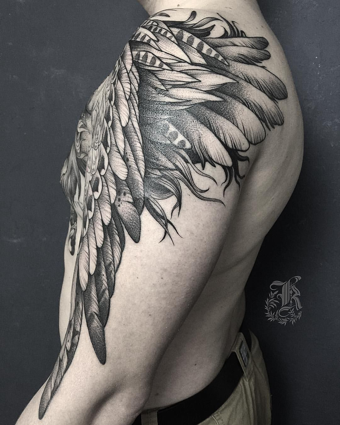 Wing and feathers tattoo by kristina darmaeva sheis on instagram