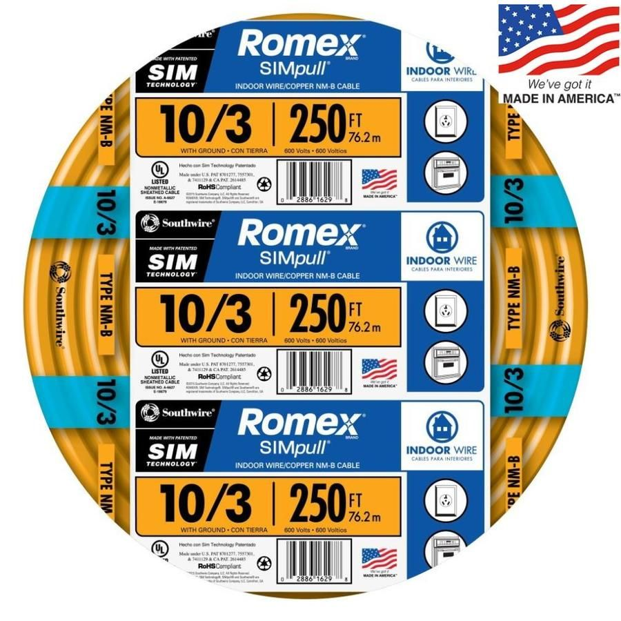 Southwire Romex Simpull 250 Ft 10 3 Non Metallic Wire By The Roll 63948455 In 2020 Residential Electrical Wire Metal