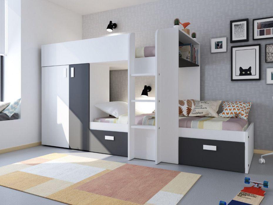 Etagenbett Mit Kleiderschrank Julien Weiss Schwarz In 2020 Schlafzimmer Einrichten Zimmerdekoration Hochbett Mit Schrank