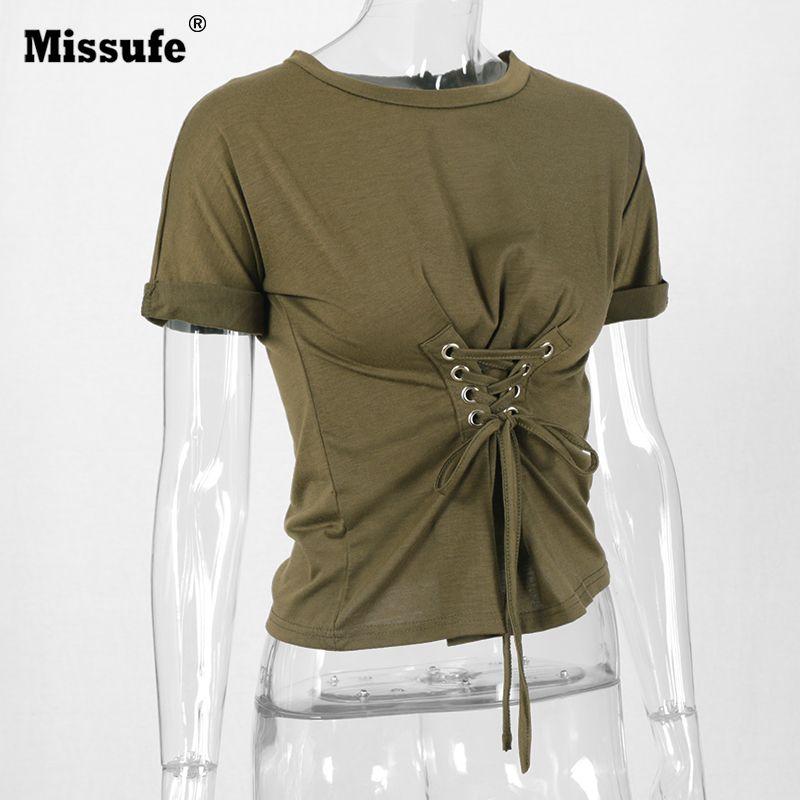 >> Click to Buy << Missufe Lace Up Bandage Women Tee Shirts 90's Streetwear Hurajuku Punk 4 Colors Solid Sheath Summer Tops 2017 Women T-shirts #Affiliate