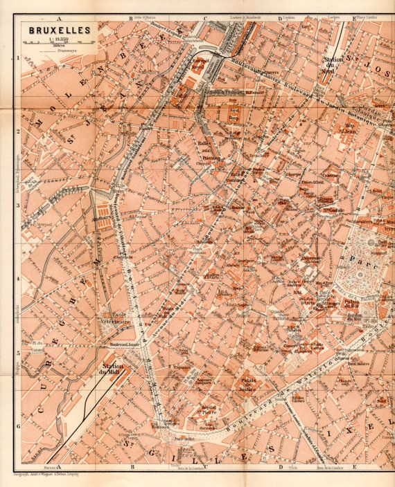 1897 Brussels Belgium Antique Map Vintage Lithograph Bruxelles