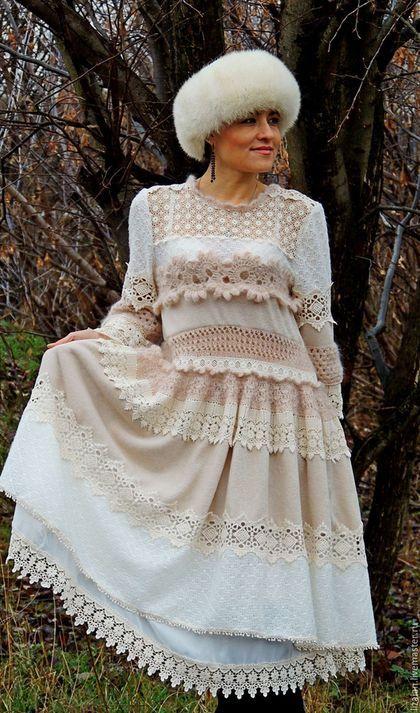 5a5308bbed8ca Платья ручной работы. Ярмарка Мастеров - ручная работа. Купить Зимнее БОХО  платье (№12). Handmade. Комбинированный, платье из мохера