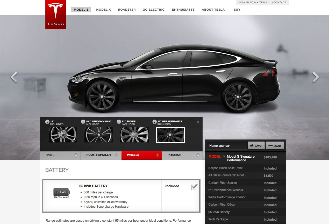 Configure Your Tesla To Be Online With Model S Design Studio Tesla Design Studio Design