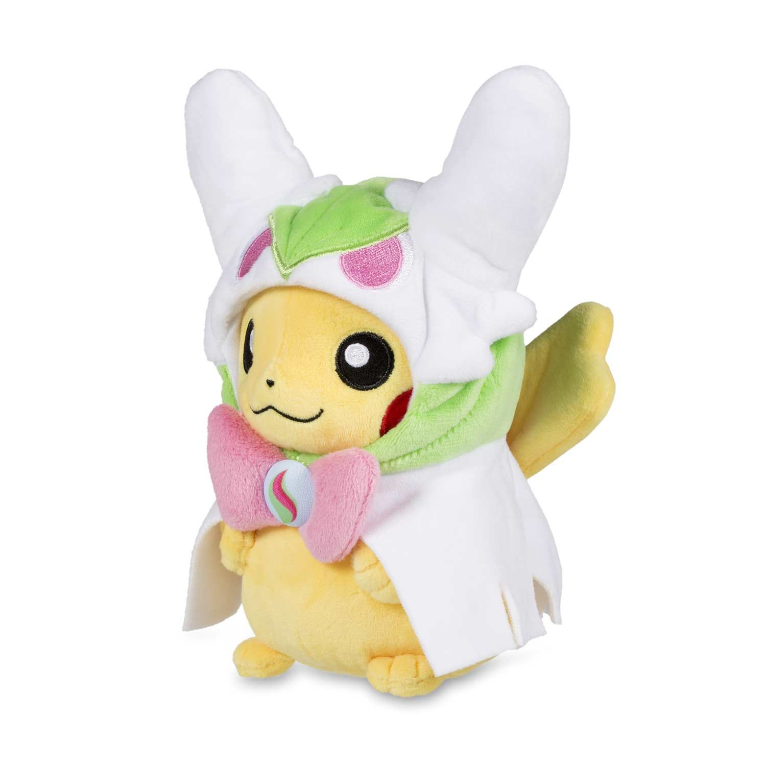 Official Pikachu Pokémon Plush wearing Mega Gardevoir Hoodie. Embroidered,  buttoned, and detailed. Hood partly removable. a779adec460