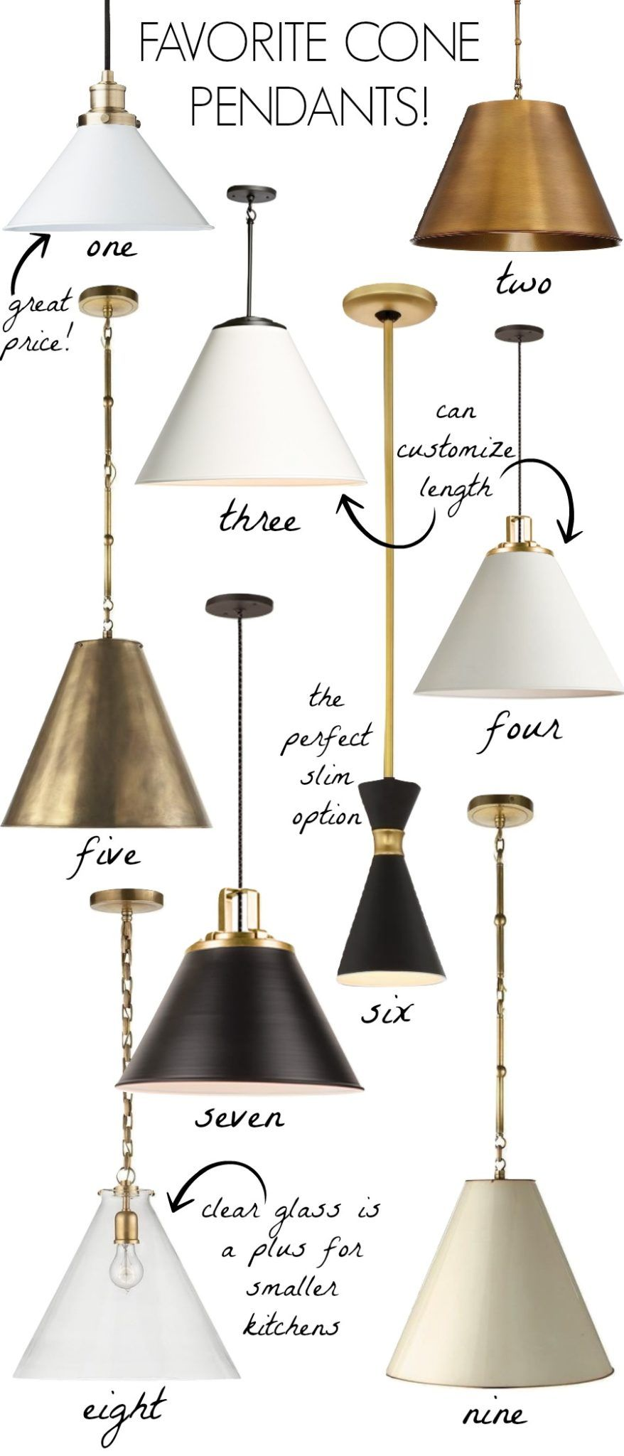 Cone Pendants New Lighting For Our Kitchen Pinterest Pendant - Kitchen pendant lighting brass