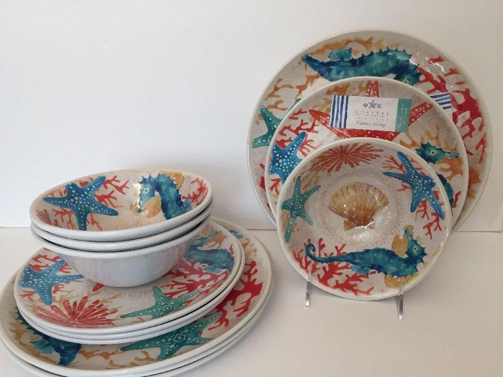 12 Piece Melamine Dinnerware Set By Indoor Outdoor Collection Coastal Beach Coastal Kitchen Melamine Dinnerware Sets Coastal Decor