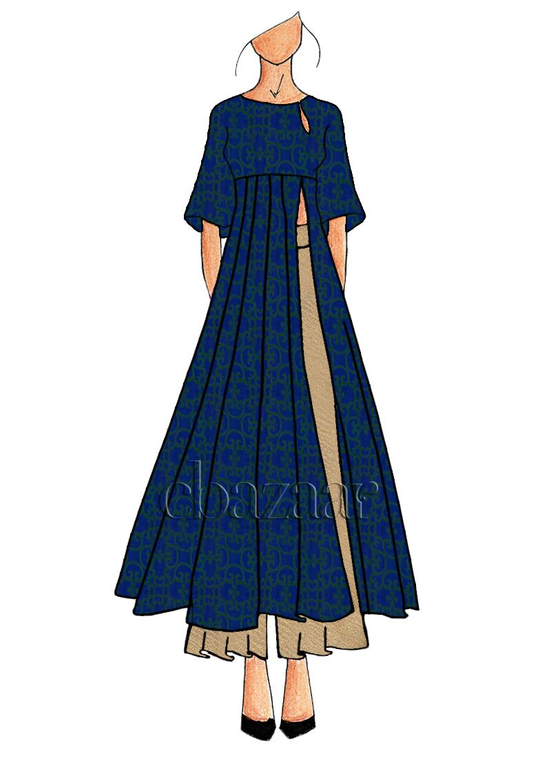 Blue Makhmali Satin Palazzo Set Fashion Drawing Dresses Fashion Illustration Dresses Fashion Sketches Dresses
