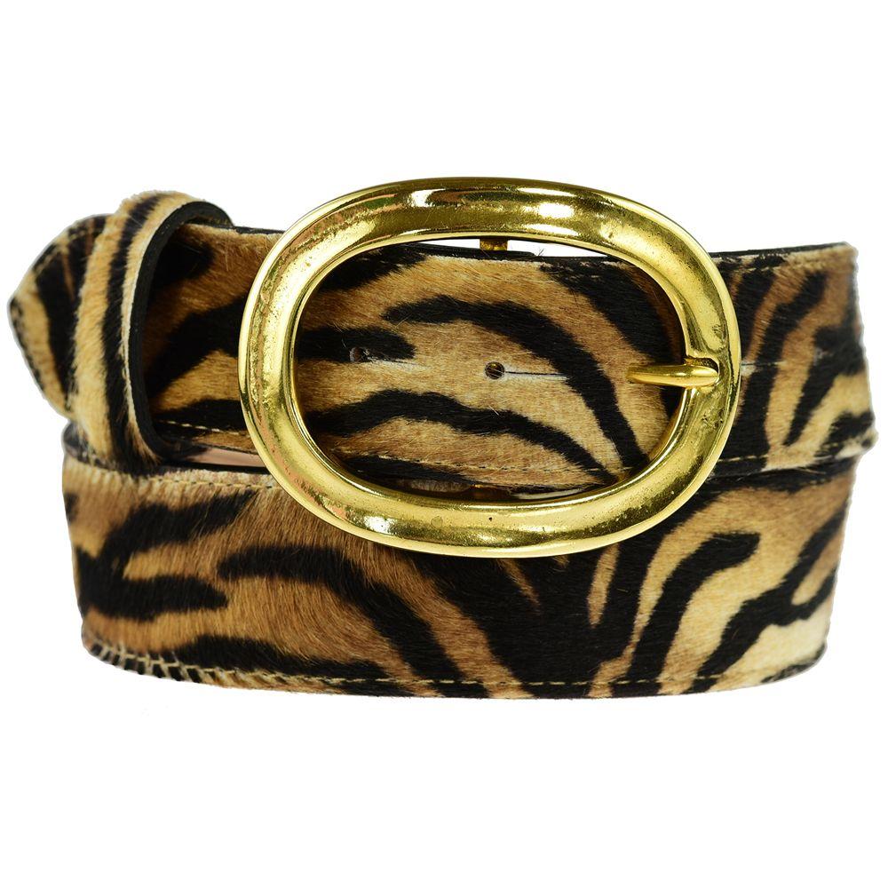 Brass Oval Buckle on Tiger Belt 14th wedding anniversary