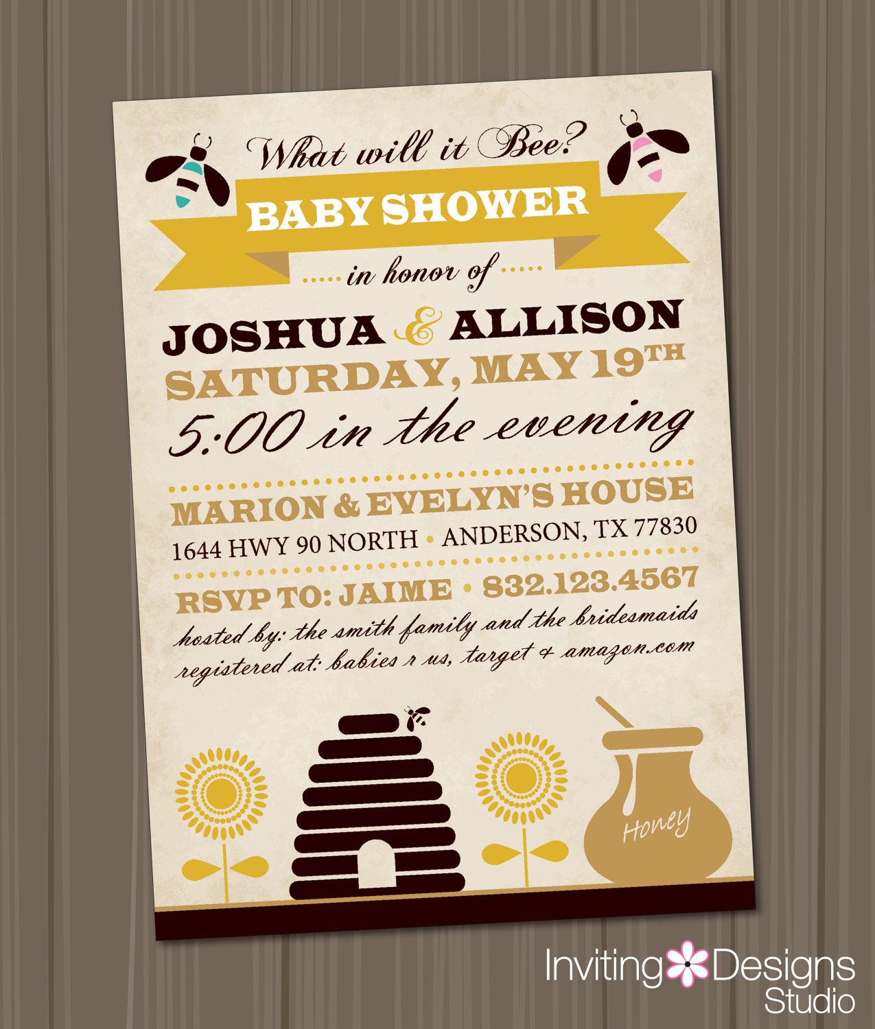 Bumble Bee Baby Shower Baby Shower Invitation Printable File Gender Reveal Party 18 00