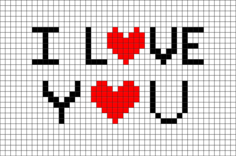 i love you pixel art brik pixel art designs pinterest grille hama et coeur. Black Bedroom Furniture Sets. Home Design Ideas