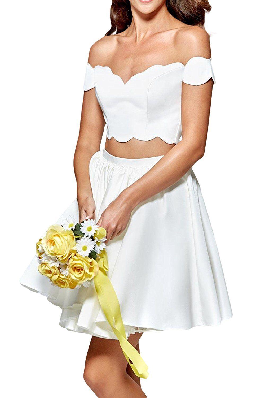 Promme twopiece prom dresses short off shoulder party dress