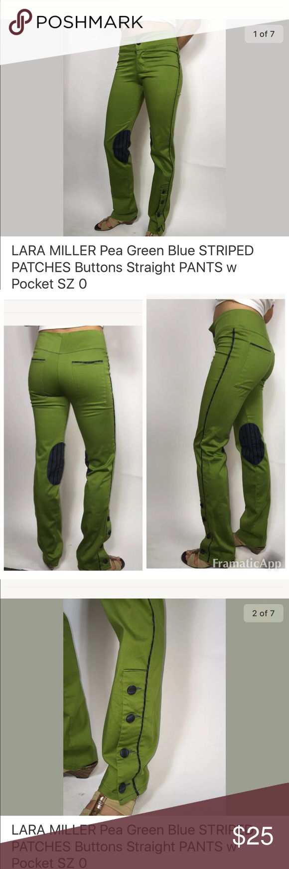 Pea Green Pants UNIQUE👍🏼 Great condition! Perfect, with no stains holes or snags. Shades of blue and black on patches.   70% Cotton 28% Nylon 4% Spandex  Inseam 33 inches * Waist 28 inches * Hips 32 inches  * Rise 9.5 inches Lara Miller Pants Straight Leg
