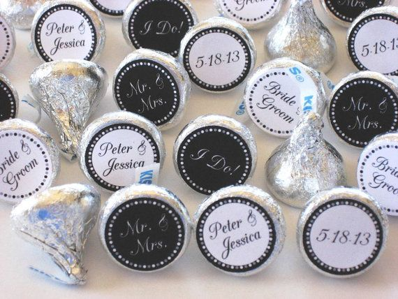 Black And White Wedding Party Favors Personalized Hershey Kiss Stickers Modern Diy Bridal Shower Candy Custom Colors