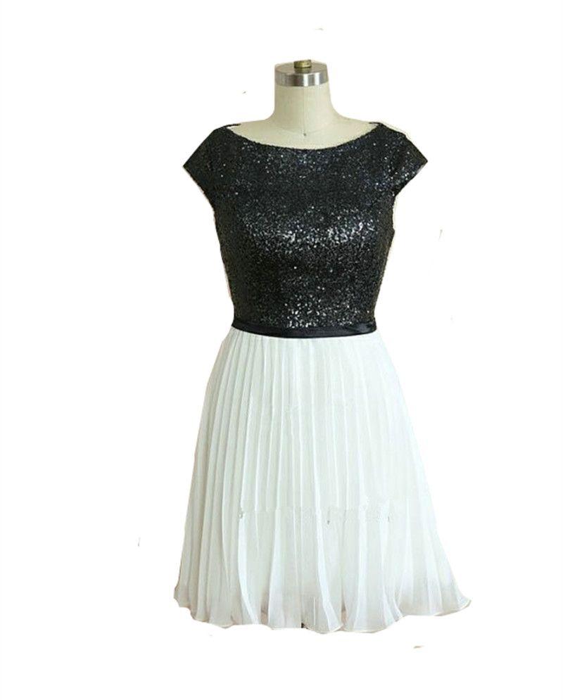 Click to buy ucuc mdbridal short sequin bridesmaid dress cap sleeve