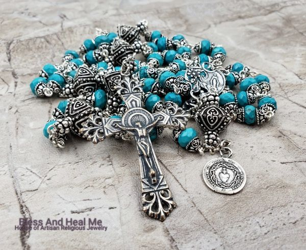 Sacred Heart of Jesus Miraculous Mary Turquoise Sterling pltd Ornate Rosary Healing,Harm & bodily injuries protection,Stress, Anxiety #rosaryjewelry