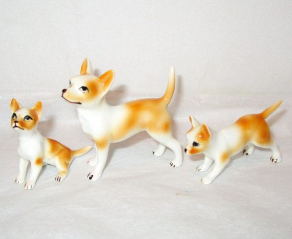 Chihuahua Dog Family Figurines Vintage Gold By Suesvintagebuys
