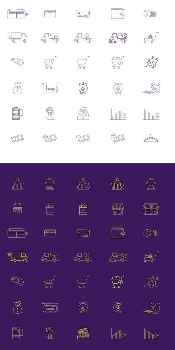 40 iconos vectoriales de comercio electrónico | Iconos | Pinterest ...
