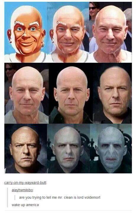 Mr Clean Voldemort Harry Potter Funny Harry Potter Memes