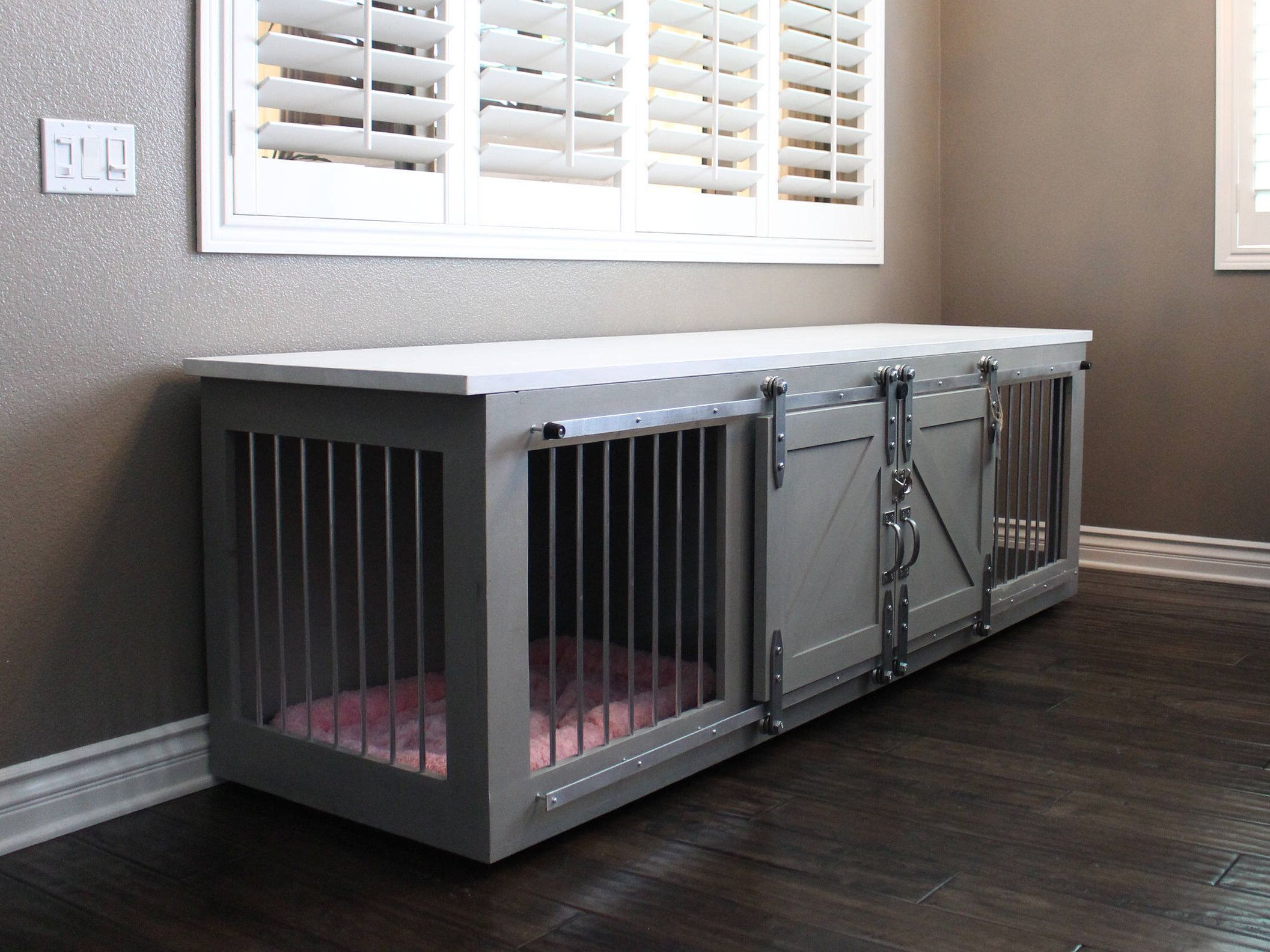 dog crates as furniture. Rustic Dog Crate - Sliding Barn Doors / Fully Custom House Credenza Unique Furniture Farmhouse Pet Kennel By TheRusticForest On Crates As