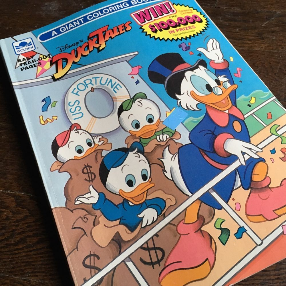 ︎ Vtg DUCK TALES Golden A GIANT COLORING BOOK Disney RARE