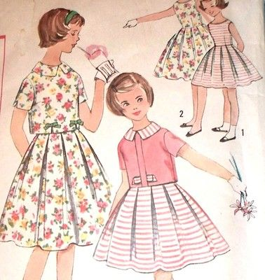 Vintage 50s Simplicity Sewing Pattern 2905 Girls Dress Overblouse Sz 7 | eBay