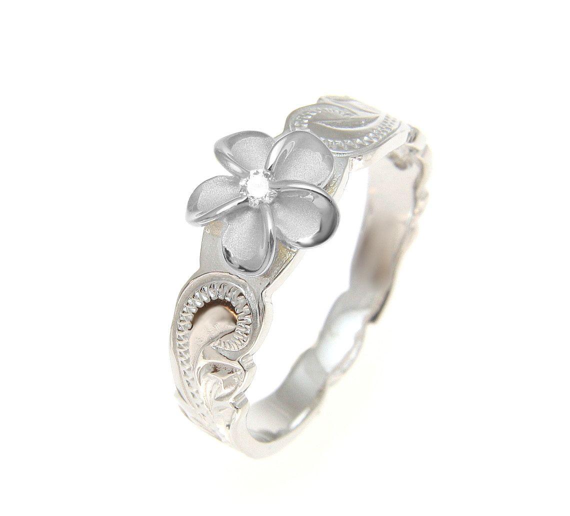 925 sterling silver hawaiian scroll rhodium cz plumeria flower ring 925 sterling silver hawaiian scroll rhodium cz plumeria flower ring size 1 10 style hawaiian scroll designplumeria size 8mmthickness 13mmweight of a izmirmasajfo