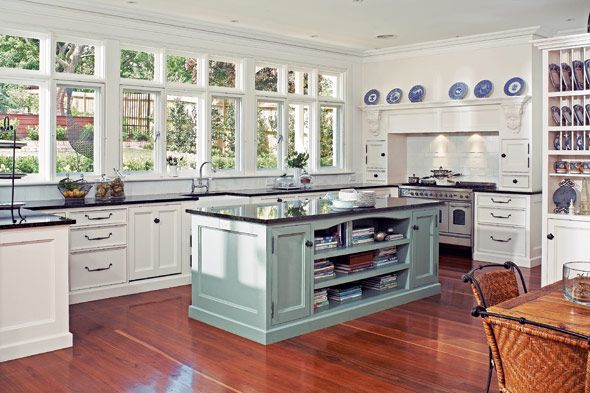 Hamptons style kitchen featuring duck egg blue island for Duck egg blue kitchen island