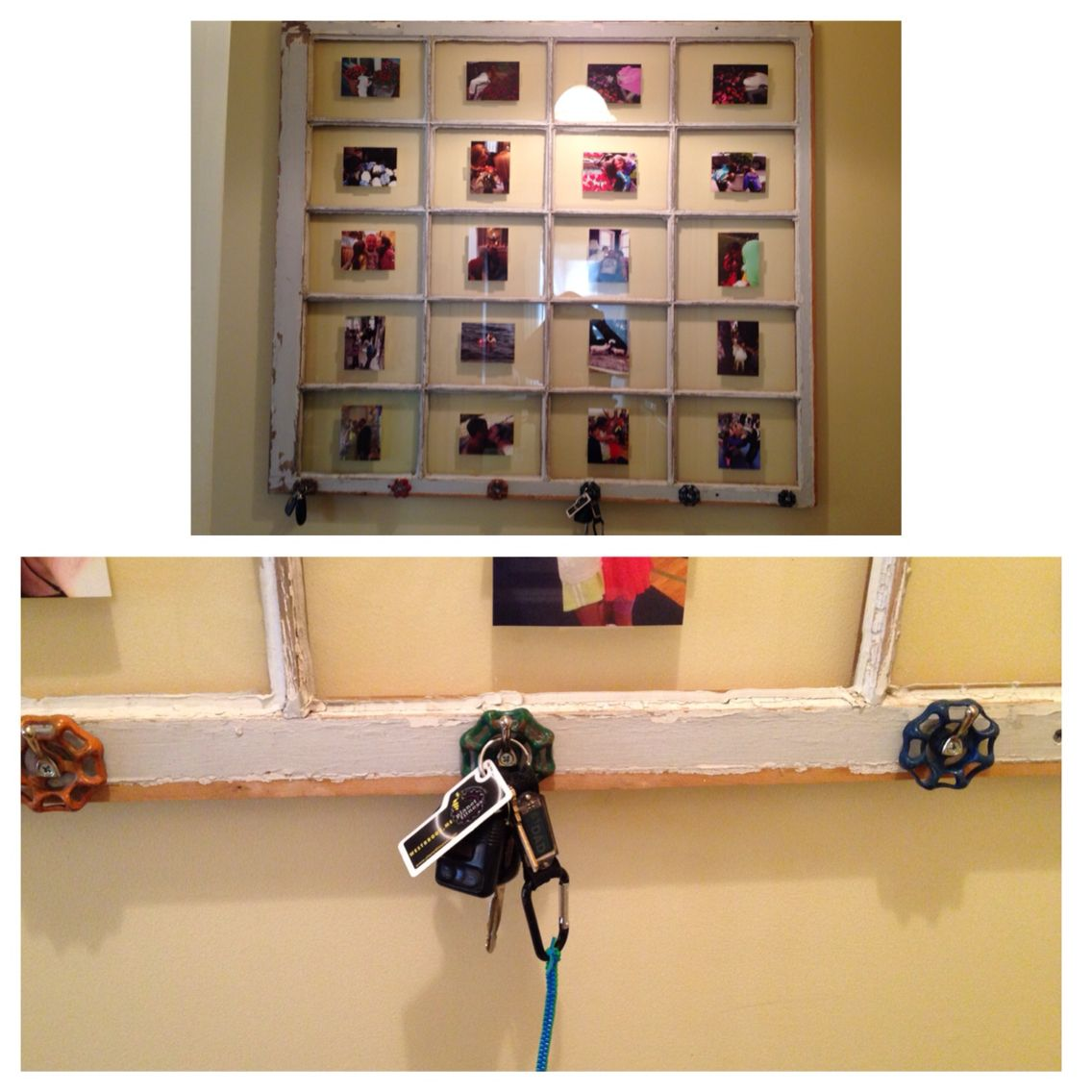 DIY key holder and picture frame!! Use an old window, old water ...